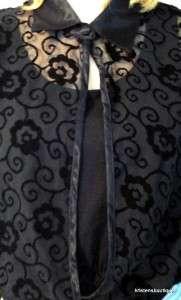 VTG80s 90s Black SHEER ART NOUVEAU VELVET BURNOUT Blouse Top Bodysuit