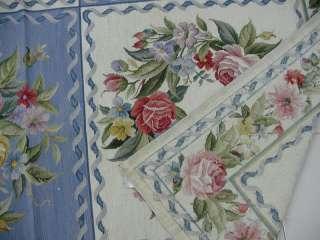 Oversize Roses Wreath English Garden Design Blue Needlepoint Area Rug