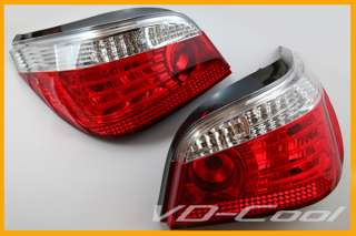 03 08 BMW E60 5 SERIES LCI TYPE CLEAR RED LED TAIL LIGHT LAMP 520I
