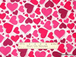 Valentine Stitch Hearts Pink Cotton Novelty Fabric Yard