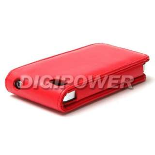 RED LEATHER FLIP CASE COVER SKIN FOR IPHONE 4 4G 4S