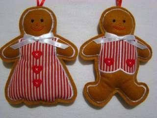 GINGERBREAD BOY & GIRL FELT CHRISTMAS ORNAMENTS PAIR