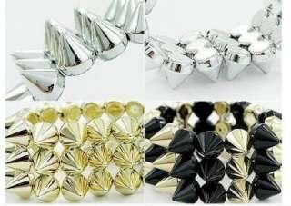 Fashion Jewelry Punk Style 3 Lines Spike Hedgehog Rivets Bracelet 4