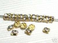 100 Swarovski Rhinestone Rondelles 4mm Gold/Crystal