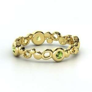 Bubble Stack Ring, 14K Yellow Gold Ring with Green