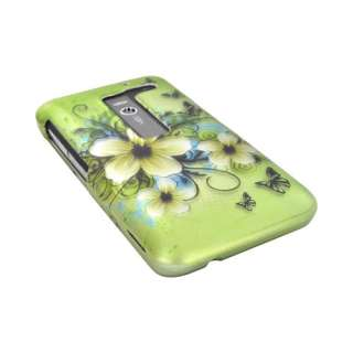 For LG Revolution Esteem Hawaiian Flowers Green Rubber Hard Shell Case