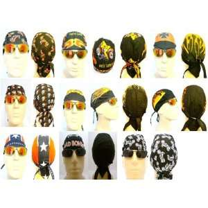 Set of 9 Biker Caps with Themes Such as Motorcycles, Flames, Fire