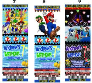 Super Mario Bros. Galaxy Kart World Party Invitations