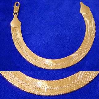 NEW 14K GOLD GP MIRROR HERRINGBONE 8 BRACELET WRIST CHAIN SHIPS FREE