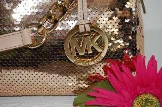 New MICHAEL KORS Grayson Suntan Gold Sequin Med Satchel Convertible
