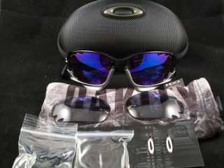 OAKLEY RACING JACKET SUNGLASSES   POLISHED BLACK W/ VENTED VR28 BLUE