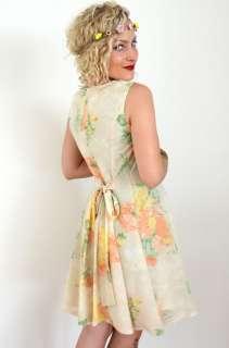 VINTAGE Beige SOFT FLORAL PRINT Summer SUN DRESS *S
