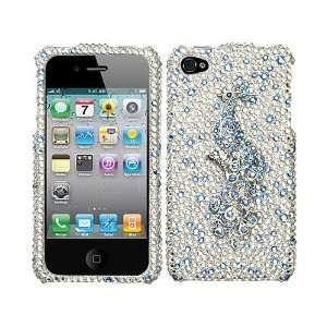 Silver Blue Peacock 3D Super Bling Rhinestone Faceplate