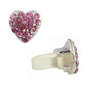 Cell Phone Charm   C22   Antennae Jewelry   Crystal Heart ~ Rose (Pink