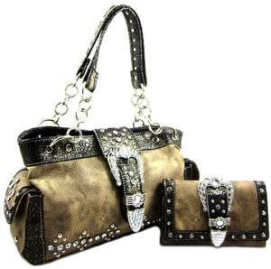 Western Cowgirl Rhinestone Belt Buckle Chain Strap Purse Bag Wallet