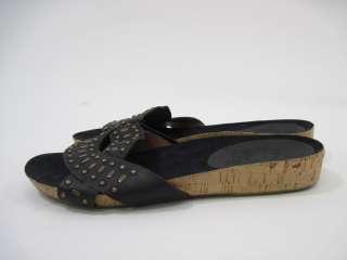 NINE WEST Black Leather Studded Flats Slides Shoes Sz 8