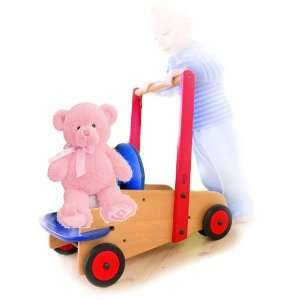 Gift Set HABA Walker Wagon & Plush Gund Teddy Bear, Pink