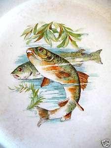 antique American Victorian Vodrey, china fish plates