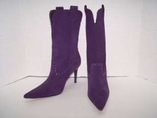 Steve Madden 7 Purple Suede Rhinestone Accent Boots Pointy Toe Heels