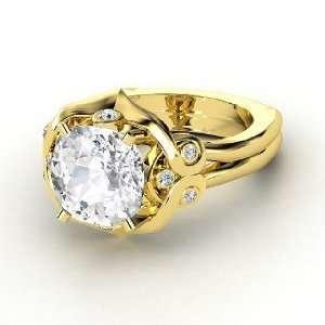 Carmen Ring, Cushion White Sapphire 14K Yellow Gold Ring