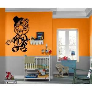 Cute Cartoon Tiger with the Pipe, Rope and Cylinder Hat