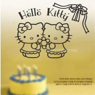 Twins Hello Kitty Cute Wall Sticker Home Decor ribbon