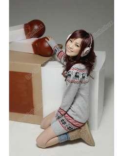 ew Soft Women knit Sweater dresses Pullover Jumper Top Snowflake Deer