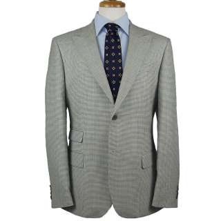 1970 CHECK HOUNDSTOOTH LIGHT GRAY WOOL MENS SPORTS JACKET COAT