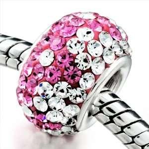 Clear & Pink Crystal Shine European Bead Fits Pandora