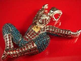 Men New White Gold Finish Multi Color Spider Man Charm