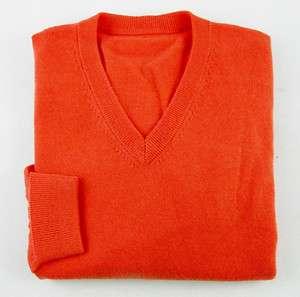 New HOUSE of CARRINGTON Orange Cashmere V Neck Sweater L MSRP $225