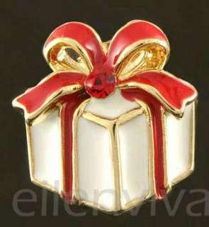 Cute Ice Skating Santa Christmas Gift Big Bow Xmas Earrings Gold Tone
