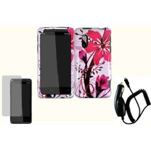 Pink Splash Hard Case Cover+LCD Screen Protector+Car Charger for HTC