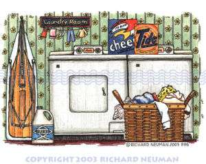 396 Laundry Room 50s Washer Print Home Wall Decor Art