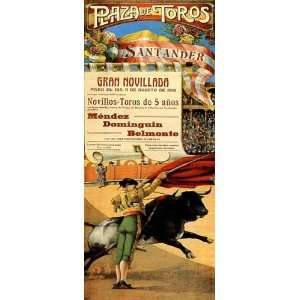 PLAZA DE TOROS SANTANDER BULL FIGHT RUN SPAIN SMALL VINTAGE POSTER