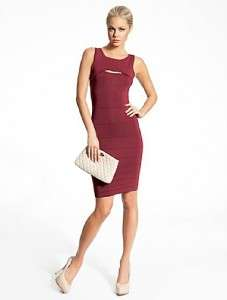 NEW MARCIANO GUESS CELIA CUT OUT DRESS STRETCH BODYCON BURGANDY S, M