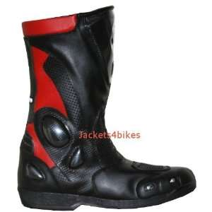 NEW MENS LEATHER MOTORCYCLE BOOTS w/ SLIDERS RED 8 Automotive