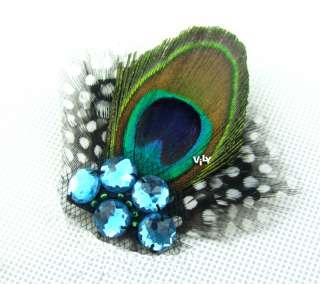 Something Blue Peacock Feather Wedding Bridal Bridesmaids Fascinator