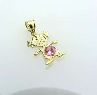 14k Solid Gold CUTE Little Girl Heart Charm Pendant