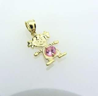 14k Solid Gold CUTE Little Girl Heart Charm Pendant