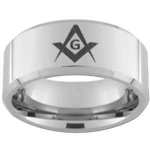 10mm Tungsten Carbide Freemason Master Mason Ring Free Inside Laser