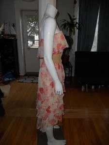 Haute Hippie Floral Ruffle Dress Suede Obi Belt XS 0 2