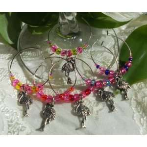 Flamingo Hot Pink Pewter Wine Glass Charms