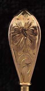 Vintage 14K Gold Engraved Hat Pin Day, Clark & Co