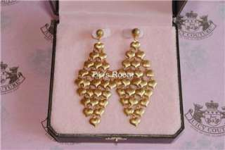 Juicy Couture GOLD MINI HEART CHANDELIER EARRINGS NEW