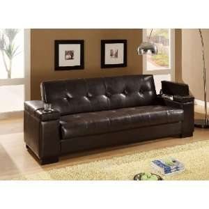 Dark Brown Faux Leather Sofa Bed w/ Cup Holders