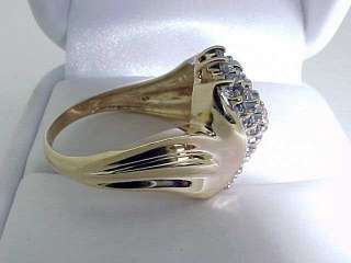 Estate 10k Yellow Gold Cluster Genuine Diamond Ring size 7