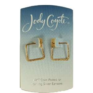 Jody Coyote Gold Square Textured Hoop Earrings HX031G