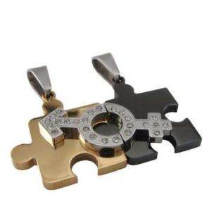 Love Puzzle Stainless Steel Pair Pendants+Chains SK100