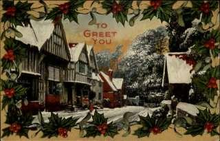 CHRISTMAS Winter Scene Holly Border c1910 Postcard